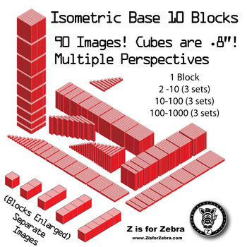 Base 10 Blocks (red) - Clip Art - Commercial Use OK! {Z is