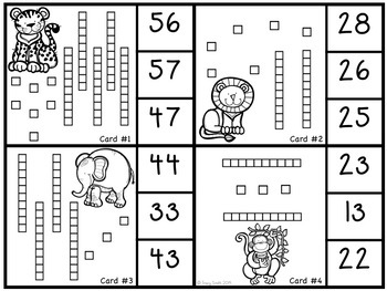 Base 10 Blocks to 100 - Clip It Cards - Fun center to review counting Base Ten!