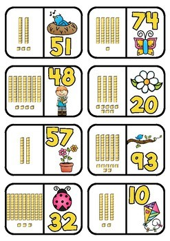 Base 10 Dominoes- Spring Theme