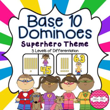 Base 10 Dominoes- Superhero Theme