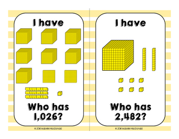 "Base-10 ""I Have...Who Has?"" Cards Through 10,000s Place Value"