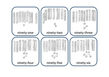 Base 10 Number Cards with blocks (MABs) and words 1-150