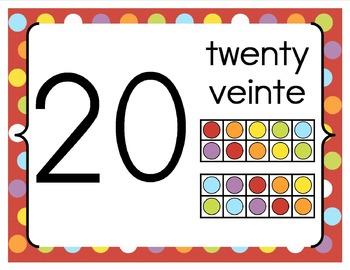 Base 10 Number Line 0-20 BILINGUAL {Red Polka Dots Design}