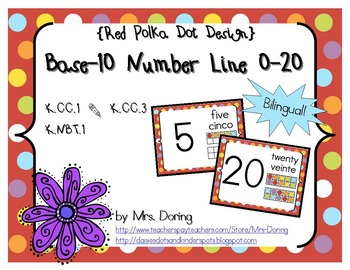 Base 10 Number Line 0-20 BILINGUAL {Red Polka Dots Design}