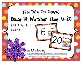 Base 10 Number Line 0-20 ENGLISH {Red Polka Dots Design}