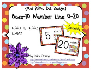 Base 10 Number Line 0-20 SPANISH {Red Polka Dots Design}