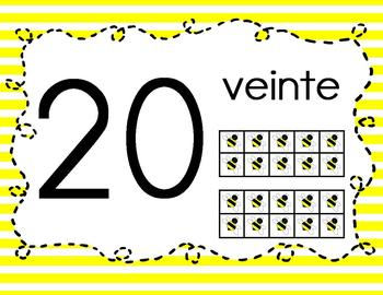 Base 10 Number Line 0-20 SPANISH {Yellow Doodle Bee Design}