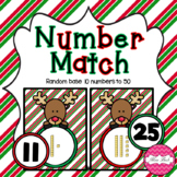 Base 10 Number Match- Christmas Reindeer Theme