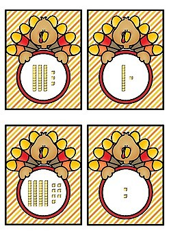 Base 10 Number Match- Turkey Theme