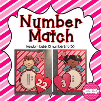 Base 10 Number Match- Valentine's Day Theme