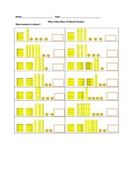 Base 10 Place Value Worksheet Practice
