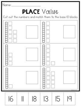 base 10 worksheets place value 11 19 by natalie lynn kindergarten. Black Bedroom Furniture Sets. Home Design Ideas