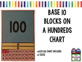 Base 10 blocks on a hundreds chart
