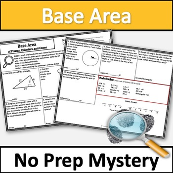 Base Area of Circles, Triangles and Rectangles Activity! No Prep Murder Mystery!