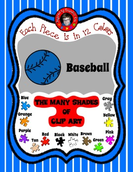 Base Ball in 12 colors ~ matches the Bats ~ Free Clip Art
