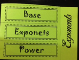 Base, Exponent and Power Foldable