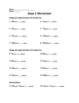 Day 2 - Base Five Worksheet