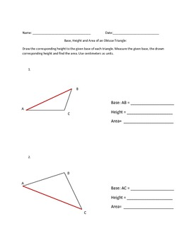 Base, Height and Area of an Obtuse Triangle