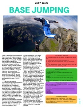 Base Jumping - ESL Reading w/ Comprehension Check, Vocab Review & activities