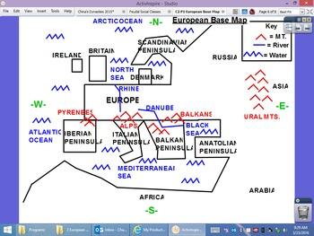 Base Map of Europe Drawn