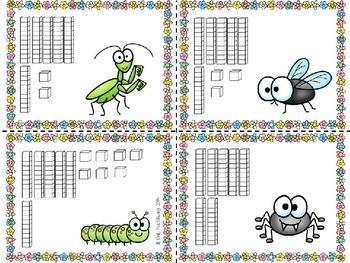 Base Ten (10) Slap It! Bug/Spring Themed (51-100)