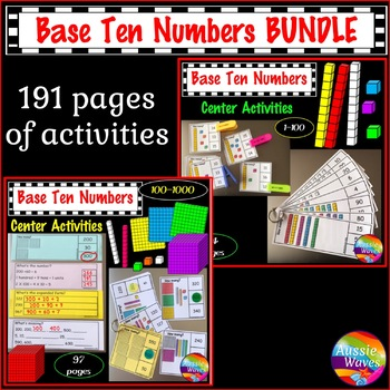 Math Base Ten Activities BUNDLE  Kinder, Grade 1 and Grade 2