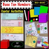 Base Ten Activities Numbers 100-1000 Printable Grade 1 and Grade 2 Math Centers