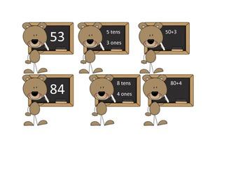 Base Ten Bears Matching Game