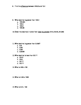 Number Base Ten Math Review