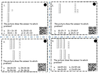 Base Ten Block Addition (with QR codes) Fact Families to check