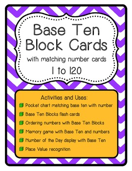 Base Ten Block Cards with Matching Number Cards