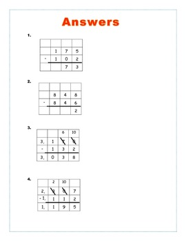 Base Ten Block Cross Off Subtraction