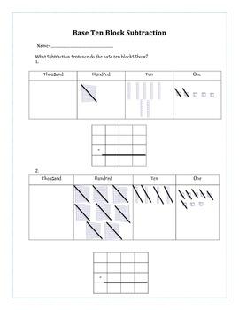 Base Ten Block Cross Off Subtraction