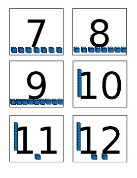 Base Ten Block Flashcards for Numbers 1-50