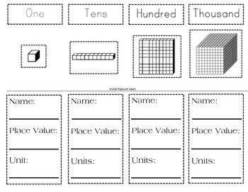 Base Ten Block Flip Book- Introduction to Base Ten Blocks