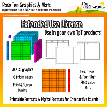 Base Ten Block Graphics and Mat Set in 12 colors for Commercial Use