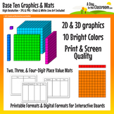 Base Ten Block Graphics and Mat Set in 12 colors - Print & Screen Quality