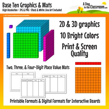 Base Ten Block Graphics and Mat Set in 12 colors - Print &