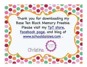 Base Ten Block Memory Game Freebie