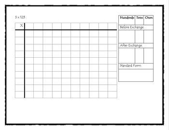 Base-Ten Block Multiplication: Single by Double & Triple Digit Lesson & Activity