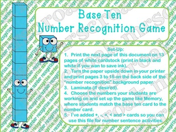 Math Center: Base-Ten Block / Number Recognition Memory Game