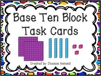 Base Ten Block SCOOT / Task Cards and Worksheet