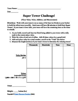 "Base Ten Blocks Activity ""Super Tower Challenge"" (Game, Co"