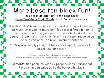 Base Ten Block Task Cards: Part 2