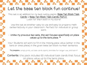 Base Ten Block Task Cards: Part 3