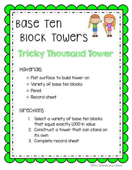 Base Ten Block Towers