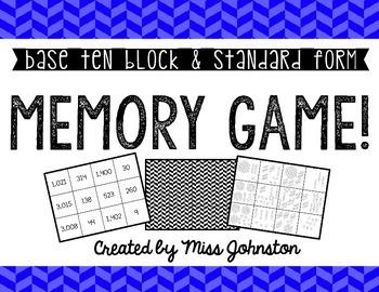 Base Ten Block/Standard Form Memory Game!