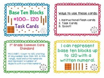 Base Ten Blocks 100-120 Task Cards