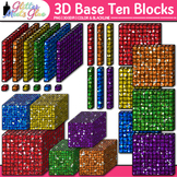3D Base Ten Blocks Clip Art {Counting and Measurement Tool