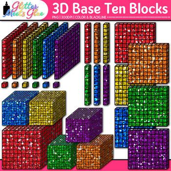 3D Base Ten Blocks Clip Art {Counting and Measurement Tool